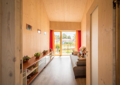 Obytný prostor rodinné dřevostavby u Ostravy